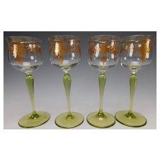 Antique Theresienthal Bohemian Enamel Wine Glass Stem Set of 4