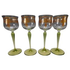 Antique Theresienthal or Heckert Hand Gilt Wine Glass Stem Set of 4