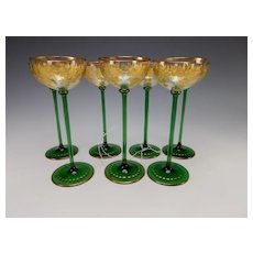 Antique Moser Bohemian Parcel Gilt Green Base Wine Glass Stems