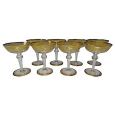 RARE Antique Josephinenhutte Latticino Stem Elegant Gilt Wine Glass SET of 8