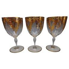 Antique Moser Elegant Hand Painted Gilt and Enamel Wine Glass Stem