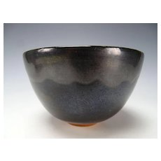 Vintage Modern Scheier Pottery Vase Bowl RARE Black Drip Glaze