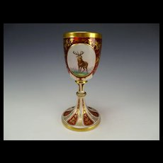 Antique Bohemian Hand Painted Portrait & Cased Glass Goblet Wine