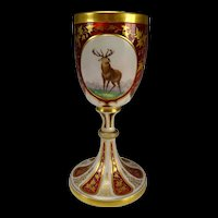 Antique Bohemian Hand Painted Portrait & Enamel Glass Goblet Wine