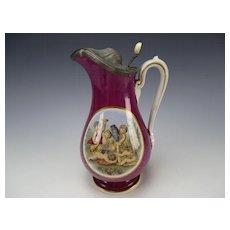 Antique Staffordshire Burslem Pearlware Cherubs Pewter Lidded Milk Jug