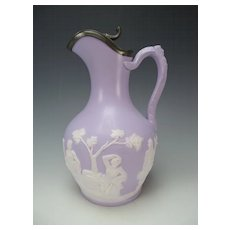 Antique Alcock Parian Lavender Jasperware Jasper English Pottery Jug Pitcher