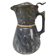 Antique MacIntyre Slipware Glaze Marble Slip Pottery Jug Pitcher c1850