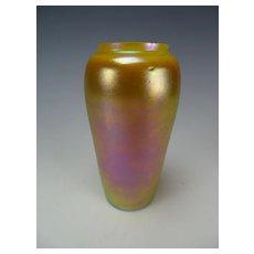 Antique Durand Favrile Iridescent Art Glass Vase Signed