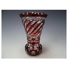 Fine Bohemian c1910 Ruby Overlay Cut to Clear Glass Vase