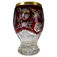 c1920s Moser Bohemian Ruby Cut to Clear Engraved Glass Vase