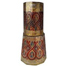 Antique 19c Bohemian Gilt Enamel Decorated Glass Tumble Up AF