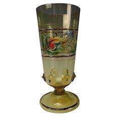 Antique Bohemian Enamel Glass Prunted Tumbler
