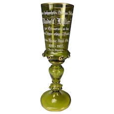 "Antique Bohemian 19c Glass Commemorative Chalice Vase 14"" Tall"