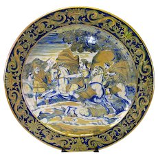 """Antique Italian Maiolica Majolica Luster Pottery Charger 20"""""""