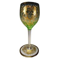 Antique Moser Enamel Gilt Wine Glass Stem c1895