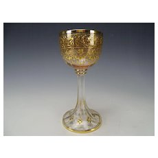 Antique Moser Finely Enameled Wine Glass Rose Bowl c1890