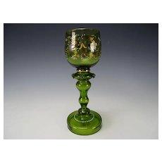 Antique Bohemian Theresienthal Tall Enamel Gilt Wine Glass Stem