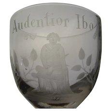 Antique English Scottish Audentior Ibo Jacobite Engraved Wine Glass 18c