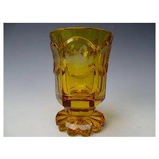 19c Antique Bohemian Engraved 6 Panel SPA Glass Beaker Vase