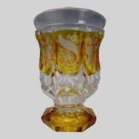 Antique Mid 19c Bohemian Engraved 8 Panel Glass Beaker Vase
