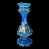 Antique Moser Bohemian Blue Opaline and Gilt Enamel Glass Vase