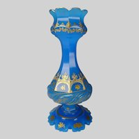Antique Moser Bohemian Blue Opaline and Gilt Enamel Glass Vase
