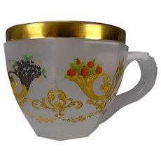 Great c1850 Enameled Bohemian Cut Opaline Glass Cup