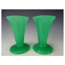 Antique Mid 19th French Emerald Jade Green Opaline Glass Vases