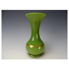 Antique French Green Opaline Gilt Glass Vase