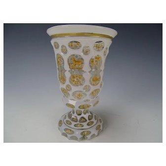 Great c1870 Bohemian Cased Cut Enamel and Gilt Glass Beaker Vase