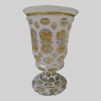 Great c1860 Bohemian Cased Cut Enamel and Gilt Glass Beaker Vase