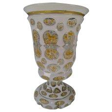 Great c1860 Bohemian Cased Cut Enamel and Gilt Glass Beaker Vase