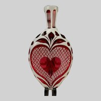 Antique Boston Sandwich Heart White Overlay Cut to Cranberry Glass Flask