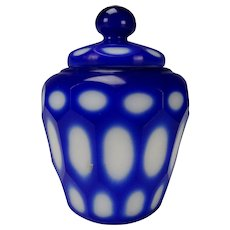 c1900 Antique Bohemian Cut Paneled Cobalt cut to White Lidded Jar