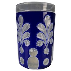 Antique Bohemian Triple Cased Cobalt to Clear Glass Vase Cup