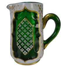 Fine Bohemian Moser Overlay Glass Creamer Pitcher