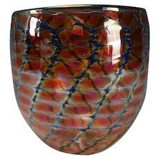 Early Tom Philabaum Iridescent Snakeskin Art Glass Vase c1993