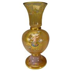 Moser Antique Peach Opalescent Hand Painted Cherub Glass Vase AF