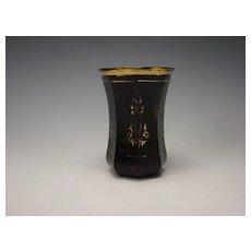 Antique Biedermeier Bohemian Ruby Red Cut Glass Beaker Vase