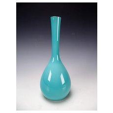 Fine 60s Cased Aqua Blue Murano Space Age Glass Vase