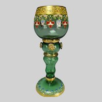 Signed Moser Bohemian Teal Green Enameled Wine Glass Stem