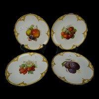 Antique KPM Porcelain Hand Painted Fruit Plate Set of 4