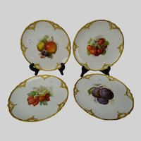 Antique KPM Porcelain Hand Painted Fruit Plate Set of 4
