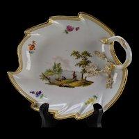 c1800 Meissen Porcelain Leaf Form Tray Plate Hand Painted China AF