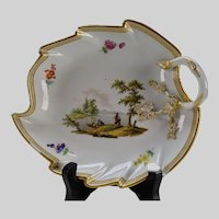 c1800 Meissen Porcelain Leaf Form Tray Plate Hand Painted China AF