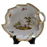 c1800 Meissen Porcelain Leaf Form Tray Hand Painted AF
