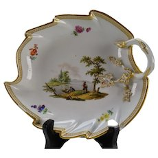 c1800 Meissen Porcelain Leaf Form Tray Hand Painted AF