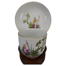 Antique Meissen Hand Painted Porcelain Cup and Saucer