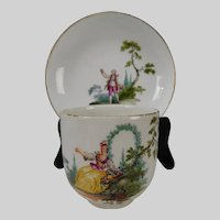 Antique c1800 Meissen Porcelain Hand Painted Cup and Saucer