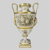 Antique c1840 French Old Paris Porcelain Grisaille Painted Vase